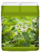 Lamium Album White Flowers Macro Duvet Cover