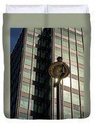 Lamp Post Against Green Glass Building Duvet Cover