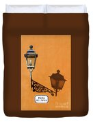 Lamp, Shadow And Burnt Umber Wall, Orvieto, Italy Duvet Cover