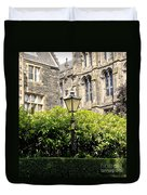Lamppost In Front Of Green Bushes And Old Walls. Duvet Cover