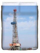 Land Oil Drilling Rig With Equipment On Oilfield Duvet Cover