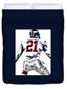 Landon Collins New York Giants Pixel Art 1 Duvet Cover