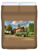 Landrover And The Barn Duvet Cover