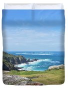 Land's End And Longships Lighthouse Cornwall Duvet Cover by Terri Waters
