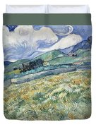 Landscape From Saint Remy At Wheat Fields  Van Gogh Series   By Vincent Van Gogh Duvet Cover