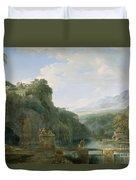 Landscape Of Ancient Greece Duvet Cover by Pierre Henri de Valenciennes