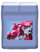 Landscape Pink Magnolia Flowers 46 Blue Sky Magnolia Tree Duvet Cover