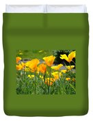 Landscape Poppy Flowers 5 Orange Poppies Hillside Meadow Art Duvet Cover
