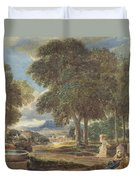 Landscape With A Man Washing His Feet At A Fountain Duvet Cover