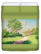 Landscape With A Red Cottage Duvet Cover