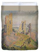 Landscape With A Ruined Castle  Duvet Cover by Paul Signac
