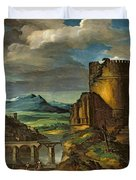 Landscape With A Tomb  Duvet Cover by Theodore Gericault