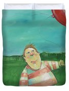 Landscape With Boy And Red Balloon Duvet Cover