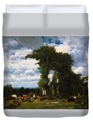 Landscape With Cattle At Limousin 1837 Duvet Cover