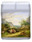 Landscape With Figures And Cattle Duvet Cover by James Leakey