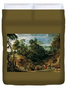 Landscape With Milkmaids And Cows Duvet Cover