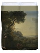 Landscape With Narcissus And Echo Duvet Cover