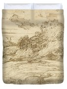 Landscape With St. Theodore Overcoming The Dragon Duvet Cover
