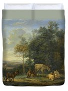 Landscape With Two Donkeys, Goats And Pigs Duvet Cover