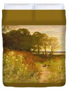 Landscape With Wild Flowers And Rabbits Duvet Cover