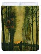 Lane Of Poplars At Sunset Duvet Cover