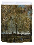 Lane With Poplars Duvet Cover