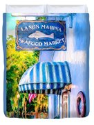 Lang's Marina Seafood Market Duvet Cover