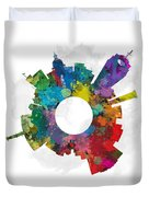 Lansing Small World Cityscape Skyline Abstract Duvet Cover