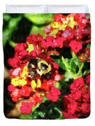 Lantanas And The Bee Duvet Cover