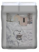 Lantern In The Snow Duvet Cover