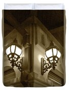 Lanterns - Night In The City - In Sepia Duvet Cover