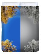 Larches Color To Black And White Reflection Duvet Cover