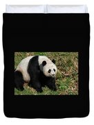 Large Black And White Giant Panda Bear Sitting Duvet Cover