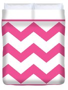 Large Chevron With Border In French Pink Duvet Cover