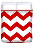 Large Chevron With Border In Red Duvet Cover