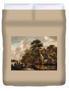 Large Farmstead On The Bank Of A River Duvet Cover