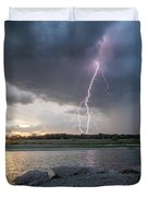 Large Lighting From Dark Clouds During Sunset At Large Lake Duvet Cover