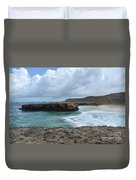 Large Rock Formation In Aruba's Boca Keto Beach Duvet Cover