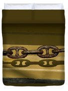 Large Rusted Chain And Its Shadow Duvet Cover