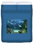 Large Sawfish And Other Fishes Swimming In A Large Aquarium Duvet Cover
