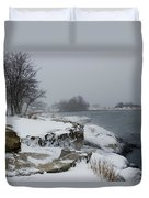 Large Stones Covered With Snow Duvet Cover