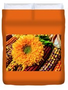 Large Sunflower On Indian Corn Duvet Cover