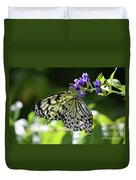 Large Tree Nymph Polinating Dainty Purple Flowers Duvet Cover