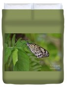 Large White Tree Nymph Butterfly On Green Foliage Duvet Cover