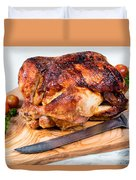 Large Whole Chicken Ready To Be Carved On Wooden Server Board  Duvet Cover