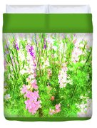 Larkspur Flowers In Soft Oil Style Duvet Cover