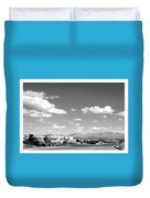 Las Cruces Mountains Black And White Duvet Cover