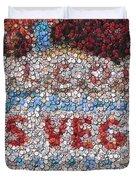 Las Vegas Sign Poker Chip Mosaic Duvet Cover