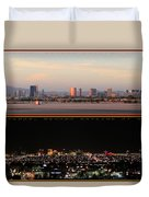 Las Vegas Skyline At Dawn And At Night Duvet Cover