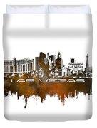 Las Vegas Skyline City Brown Duvet Cover